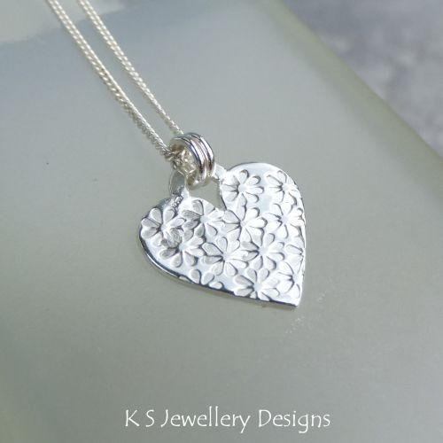 Flower Textured Sterling Silver Heart Pendant