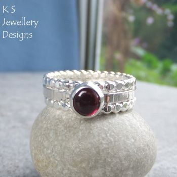Garnet Sterling & Fine Silver Stacking Ring Trio (UK size S / US size 9.25)
