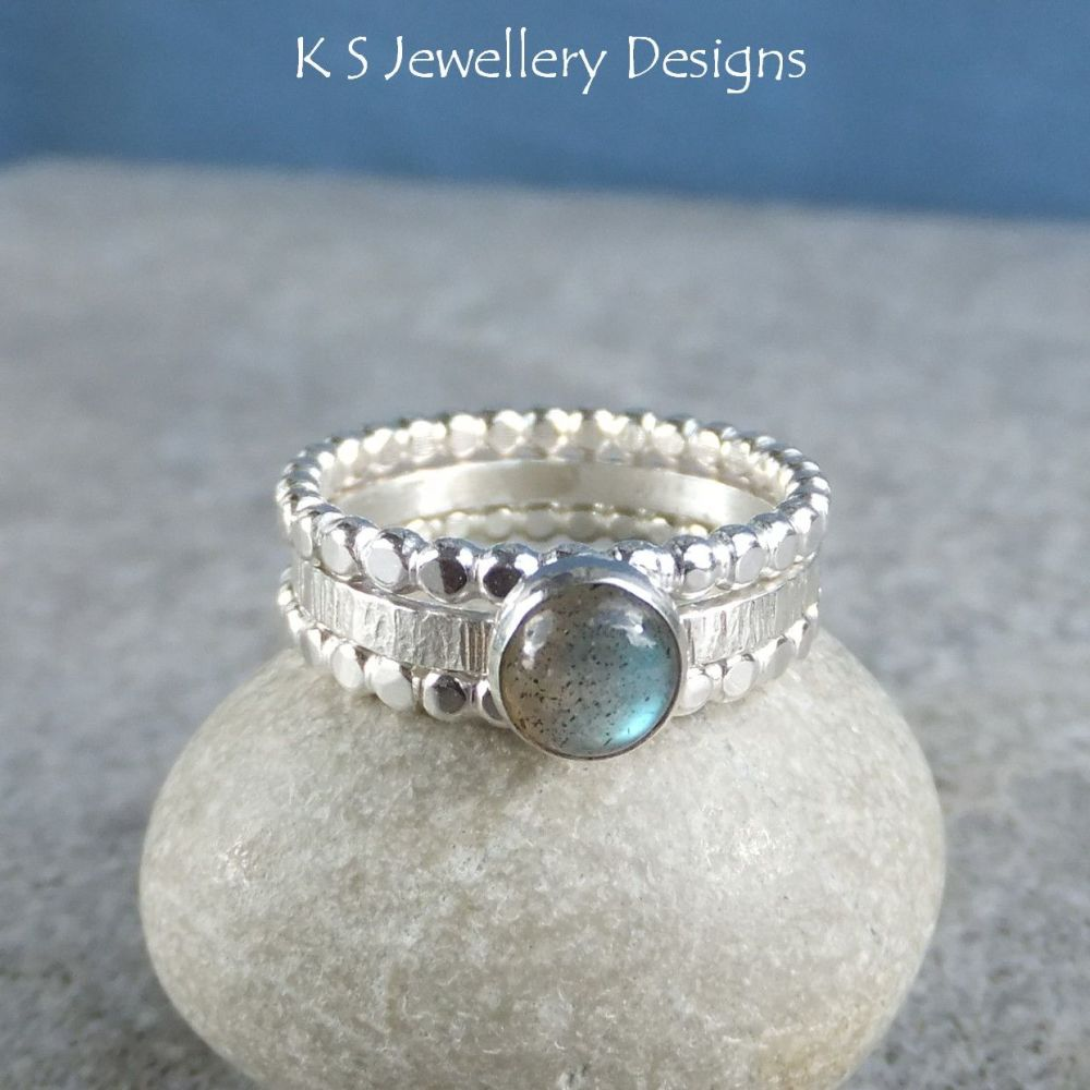 Labradorite Sterling & Fine Silver Stacking Ring Trio (UK size P / US size