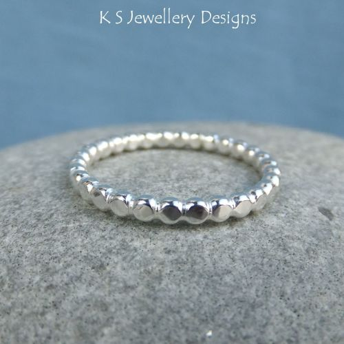Sterling Silver 2.2mm Beaded Wire Stacking Ring