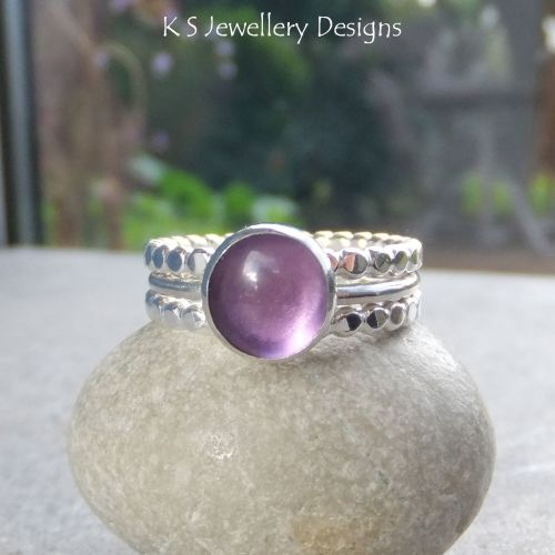 Amethyst Sterling & Fine Silver Stacking Ring Trio (UK size N / US size 6.7