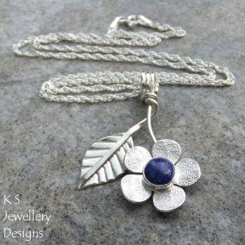 Lapis Lazuli Flower & Leaf Sterling Silver Pendant