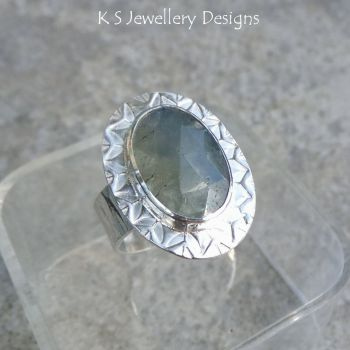 Blue Grey Natural Sapphire Stamped Bezel Sterling Silver Ring