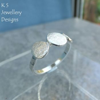 Textured Pebbles Trio Sterling Silver Ring (UK size N / US size 6.75)