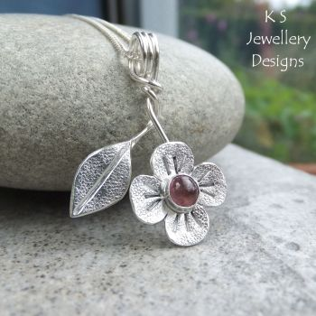 Pink Tourmaline Flower & Leaf Sterling Silver Pendant