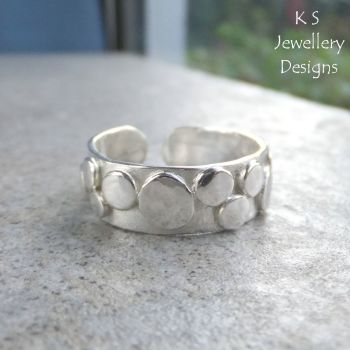 Random Pebbles Sterling Silver Cuff Ring (adjustable to fit many sizes)