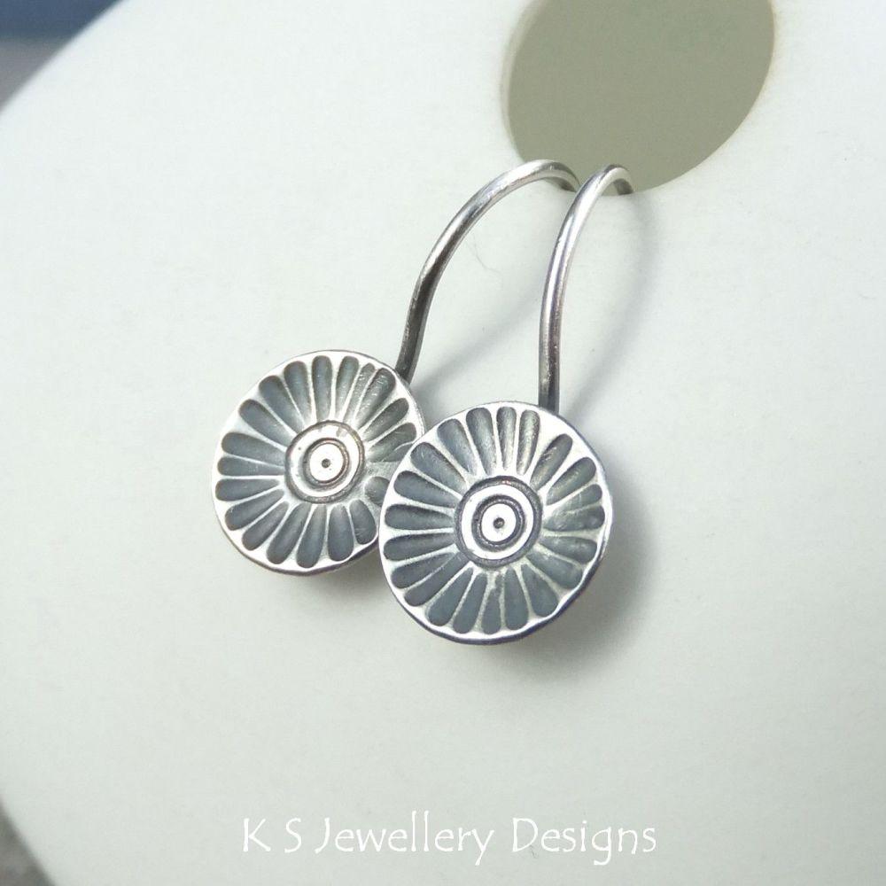 Sterling Silver Earrings - Rustic Flower Discs (Daisy)