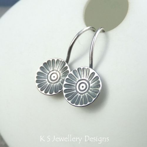 Sterling Silver Earrings - Rustic Flower Discs (Daisy)
