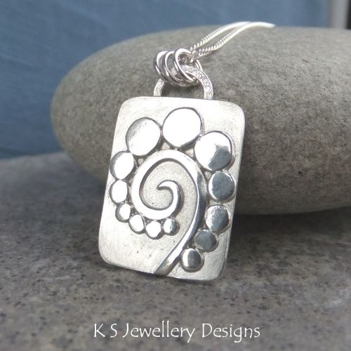 Pebble Swirl Sterling Silver Pendant