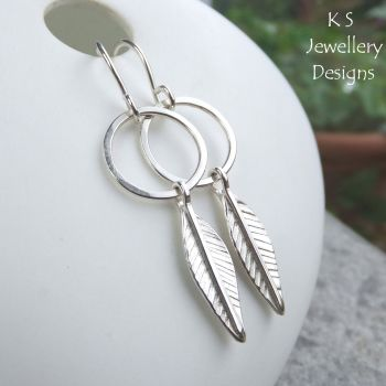 Leaves & Circles Sterling Silver Earrings