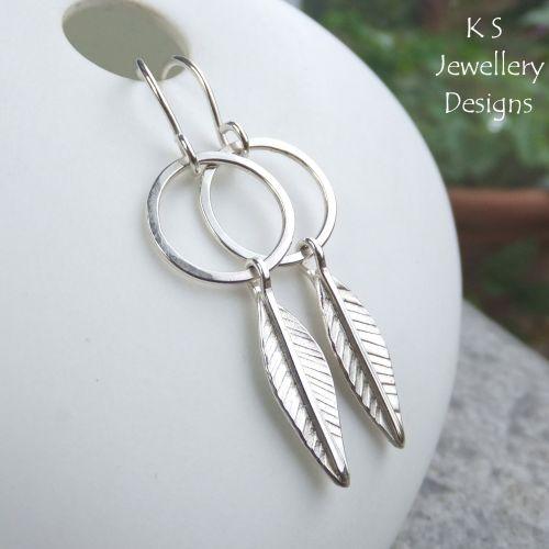 Leaves & Circles Sterling Silver Earrings