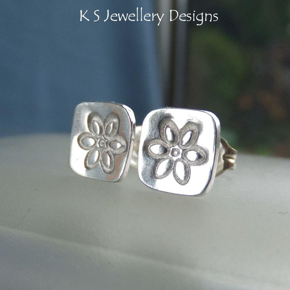 Sterling Silver Stud Earrings - Stamped Flower Squares #1