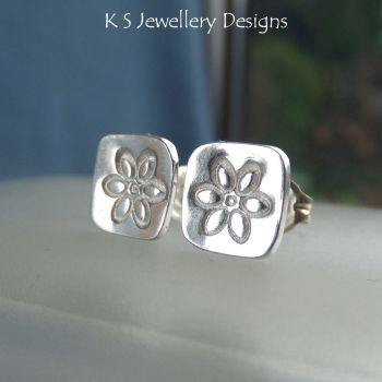 Sterling Silver Stud Earrings - Stamped Flower Squares #1