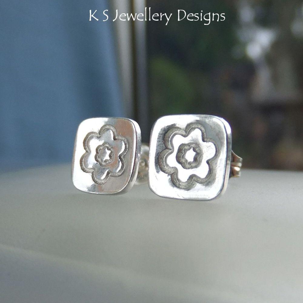 Sterling Silver Stud Earrings - Stamped Flower Squares #2