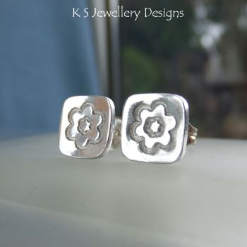 Sterling Silver Stud Earrings - Stamped Flower Squares #2