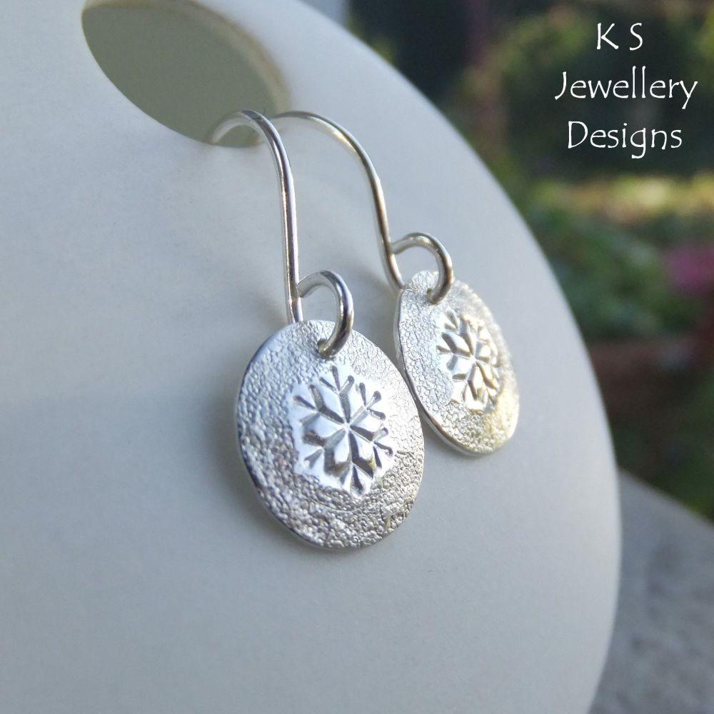 Textured Snowflake Sterling Silver Disc Earrings