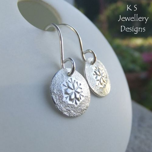 Textured Snowflake Sterling Silver Disc Earrings