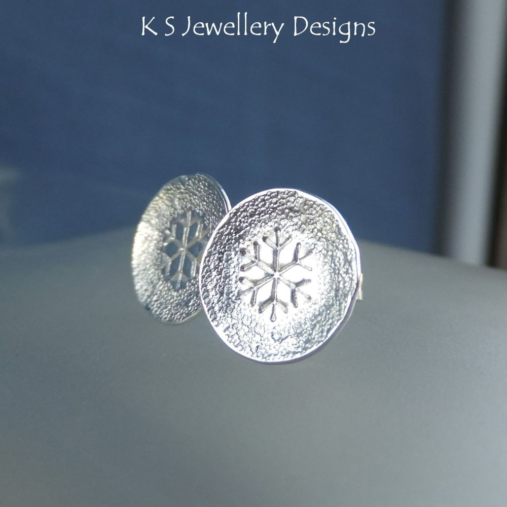Textured Snowflake Sterling Silver Stud Earrings
