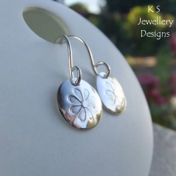 Sterling Silver Disc Earrings - Stamped Daisies
