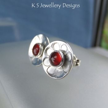 Carnelian Daisies - Sterling Silver Stud Earrings - Daisy Flower Discs