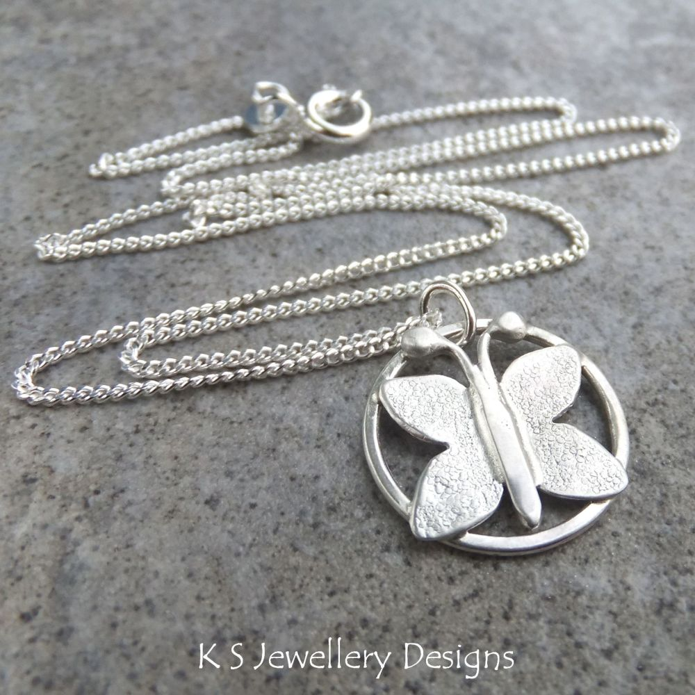 Butterfly Circle Sterling Silver Pendant