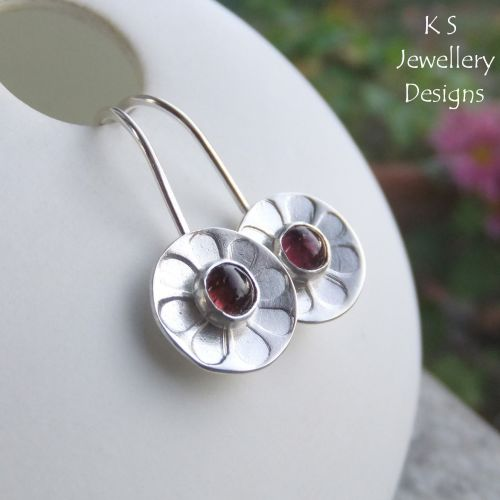 Pink Tourmaline Daisies - Sterling Silver Earrings - Daisy Flower Discs