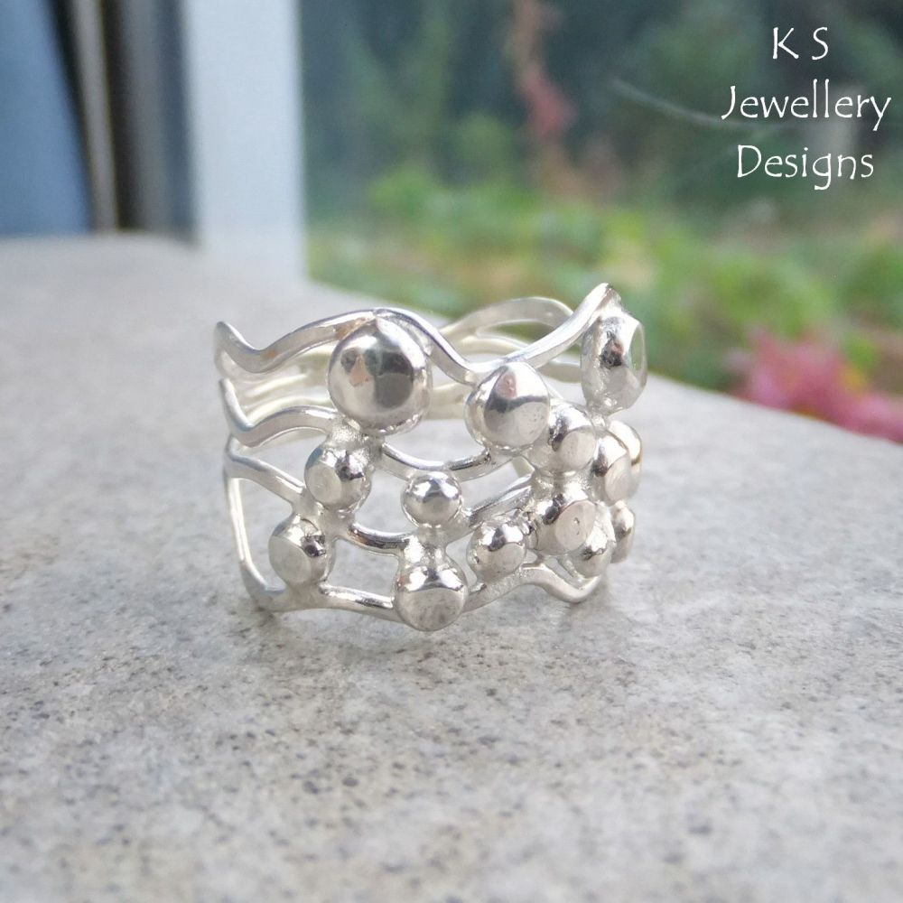 Waves & Pebbles Freeform Sterling Silver Ring (4 waves) - (UK size P / US s