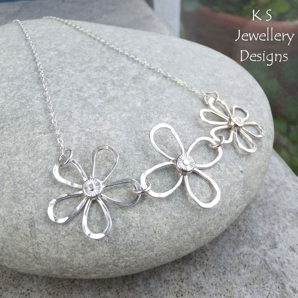 Dappled Flower Trio Sterling Silver Necklace