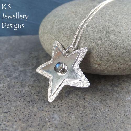 Labradorite Sterling Silver Shiny Star Pendant