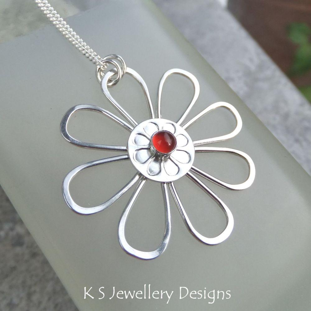 Carnelian Daisy - Sterling Silver Flower Pendant