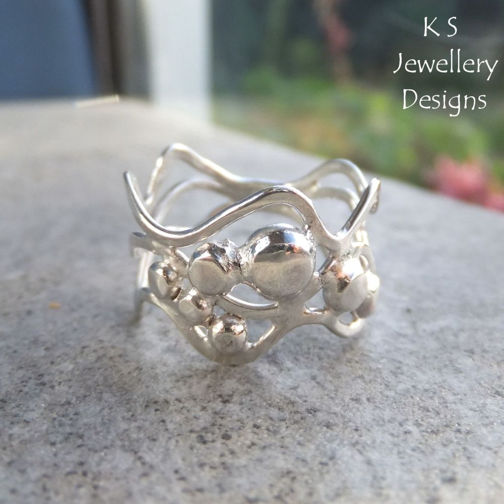 Waves & Pebbles Freeform Sterling Silver Ring (3 waves) - (UK size O / US s