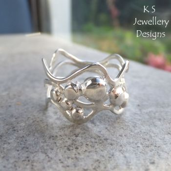 Waves & Pebbles Freeform Sterling Silver Ring (3 waves) - (UK size O / US size 7.25 - can be stretched bigger)