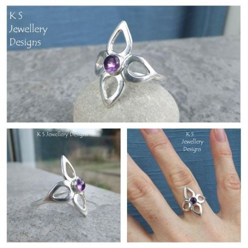 * SALE - Amethyst Flower  Fine Silver Ring (UK size O / US size 7.25) WAS £