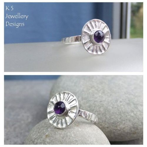 * SALE - Amethyst Sterling & Fine Silver Sunburst Ring (UK size N1/2 / US s