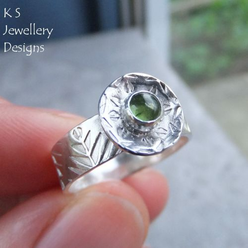 * SALE - Green Tourmaline Sterling Silver Forest Ring (UK size M / US size
