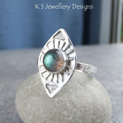 * SALE - Labradorite Sterling & Fine Silver Sunburst Ring (UK size N / US s