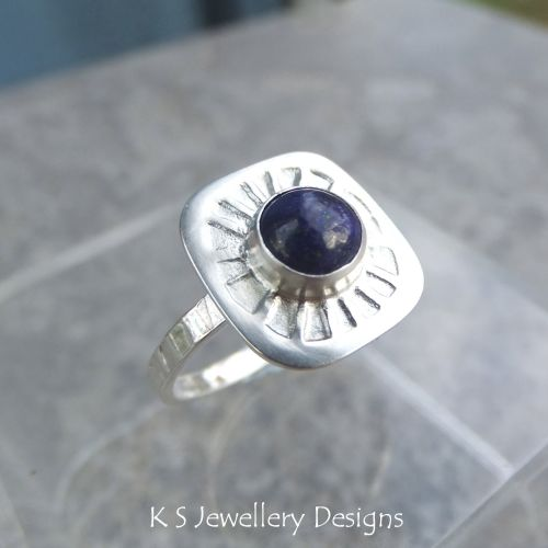 * SALE - Lapis Lazuli Sterling & Fine Silver Sunburst Ring (UK size O / US