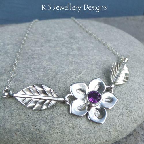 * SALE - Amethyst Flower and Leaves Sterling Silver Necklace WAS £96 NOW £8