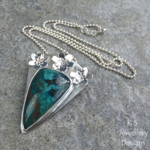 * SALE - Chrysocolla Flower Adorned Sterling Silver Pendant WAS £70 NOW £50