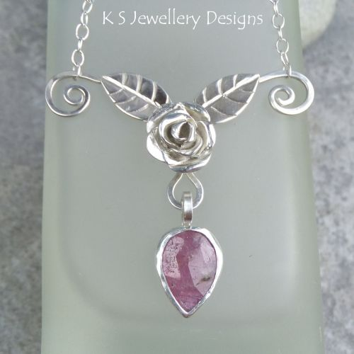 * SALE - Pink Sapphire Rose, Leaves and Petal Sterling Silver Necklace WAS