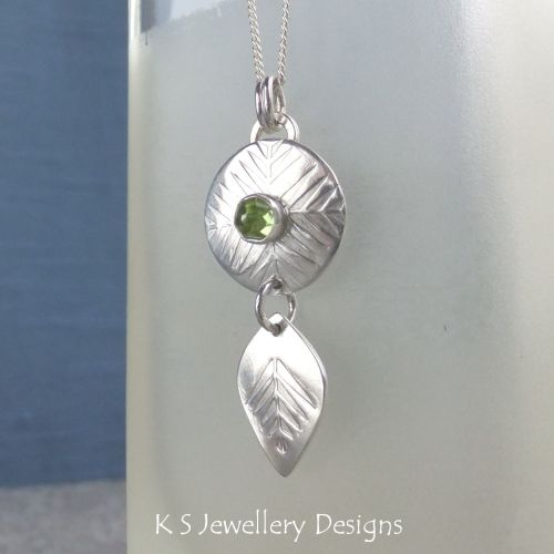 * SALE - Peridot Pine Forest Disc & Leaf Sterling Silver Pendant WAS £42 NO