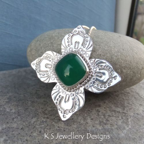 Green Chalcedony Sterling Silver Flower Pendant - Textured Flower