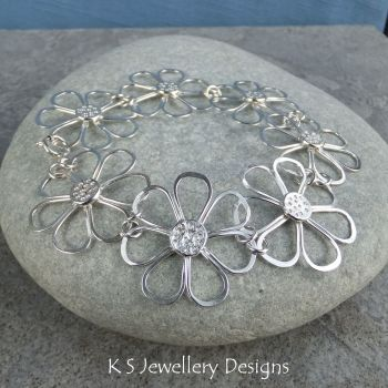CUSTOM ORDER FOR CRYSTAL - Rustic Daisy Bracelet & Earrings - BALANCE