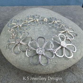CUSTOM ORDER FOR CRYSTAL - Rustic Daisy Bracelet & Earrings - BALANCE