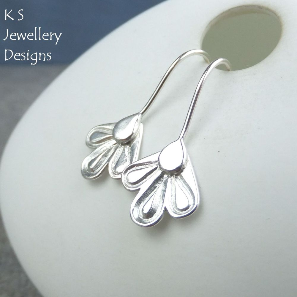 Sterling Silver Petal Trio Drop Earrings (version 2)
