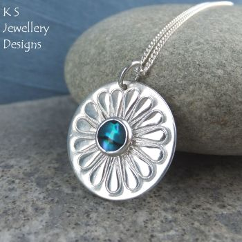 * RESERVED - Abalone Daisy Sterling Silver Disc Pendant - Stamped Flower