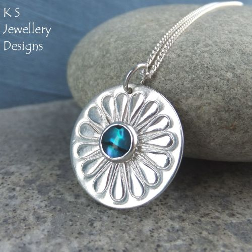 Abalone Daisy Sterling Silver Disc Pendant - Stamped Flower