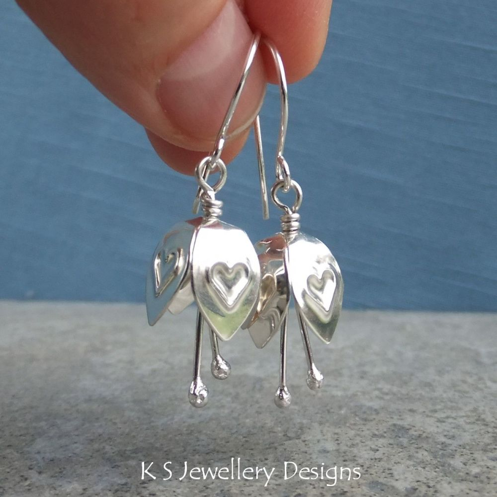 Heart Embossed Sterling Silver Bell Flower Earrings