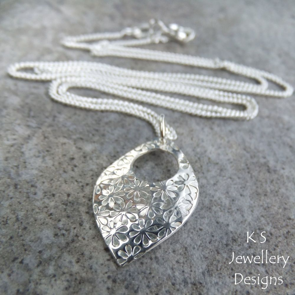 Flower Textured Sterling Silver Drop Pendant