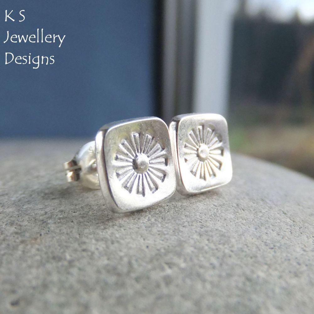 Sterling Silver Stud Earrings - Stamped Flower Squares #3